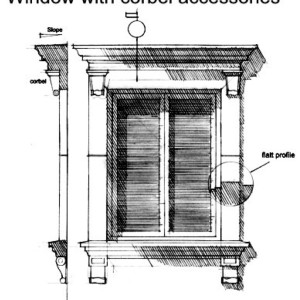 Window with corbel accessories